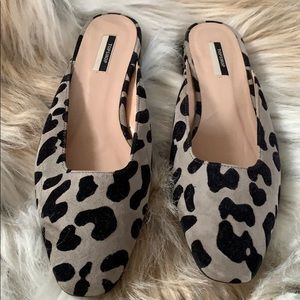 Animal print mule shoes
